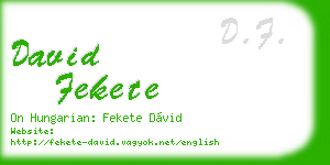 david fekete business card